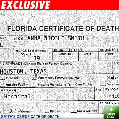 anna nicole's death certificate | tmz.com