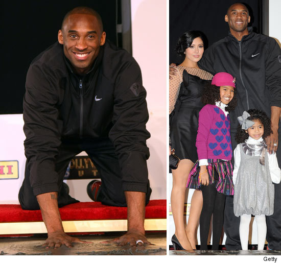 With His Wedding Ring On Full Display, Kobe Bryant    With His Wife Vanessa  And Kids At His Side    Had His Hand And Footprints Cemented In Front Of ...