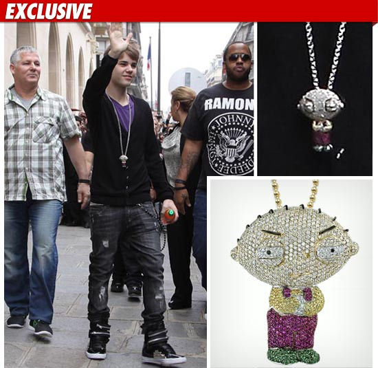 Biebers family guy necklace worth 25000 tmz famous beverly hills jeweler jason arasheben tells tmz he and bieber designed the stewie pendant together adding justin had a specific vision for how aloadofball Images