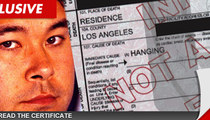 Hideki Irabu Death Certificate -- 'Self-Inflicted With Rope'