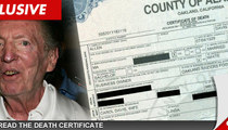 Al Davis Death Certificate -- Died from Bum Ticker