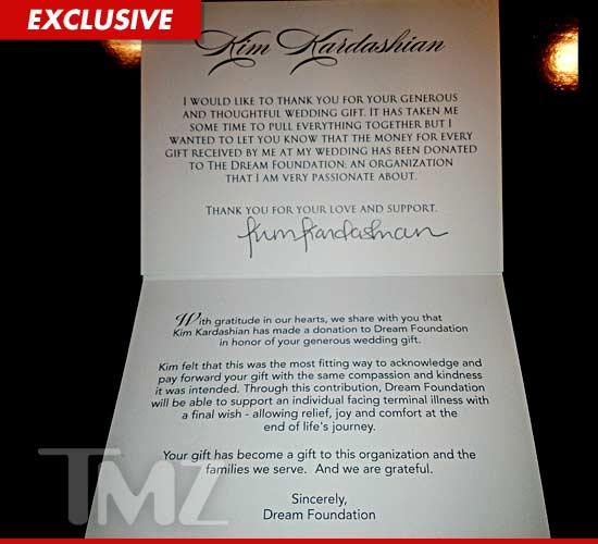 Kim Kardashian Donates Twice The Value Of Wedding Gifts To Charity