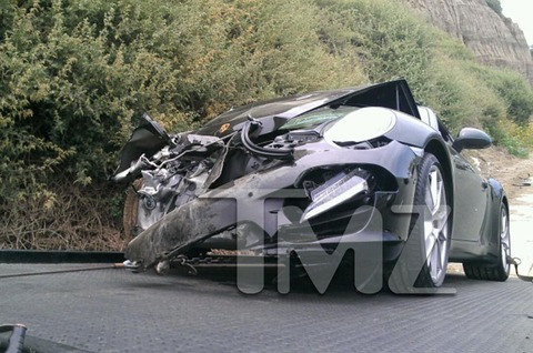 Lindsay Lohan crashed her black porsche on Pacific Coast Highway landing her in the emergency room.