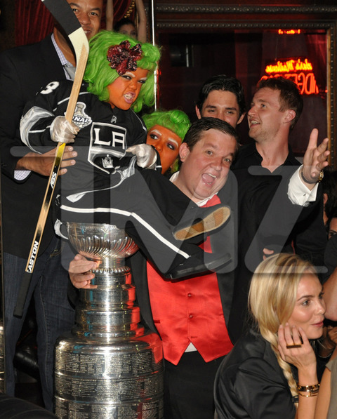 L.A. Kings Players Trevor Lewis, Jarret Stoll, Alex Martinez, Willie Mitchell and Jordan Nolan party with Chuck Lidell at Beacher's Madhouse with the Stanley Cup.