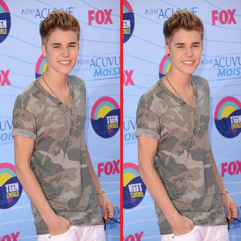 Can you spot the THREE differences in the Justin Bieber picture?
