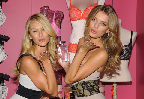 Models Candice Swanepoel and Bregje Heinen attend Victoria's Secret Angels launch Body by Victoria at Victoria's Secret SoHo in New York City.