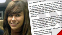 Sorority Emailer Rebecca Martinson -- Double F**king Newsflash ... I'm Getting a Job Offer at Scores