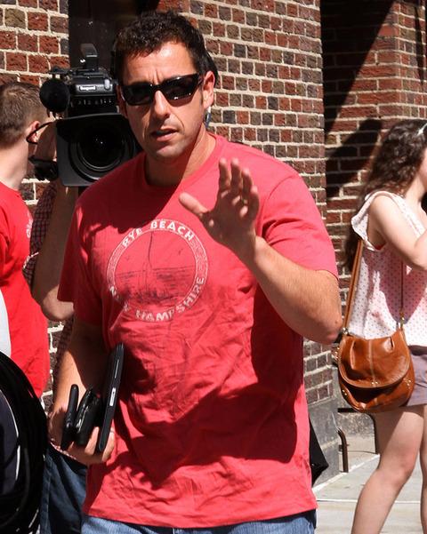 Adam Sandler presents his left hand in 2010.