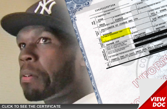 50 Cent -- NOT THE FATHER Of Baby 2 ... At Least On Birth Certificate