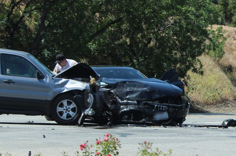 Kendra Wilkinson was at fault in a head-on crash in the San Fernando Valley