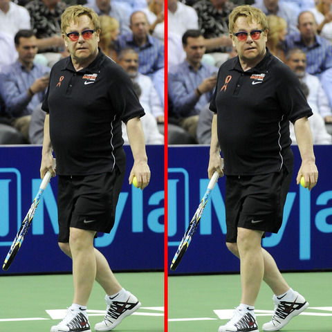Can you spot the THREE differences in the Elton John picture?