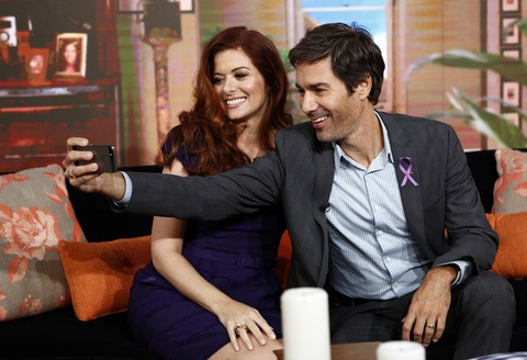 Silly friends Debra Messing and Eric McCormack snapped a pic!