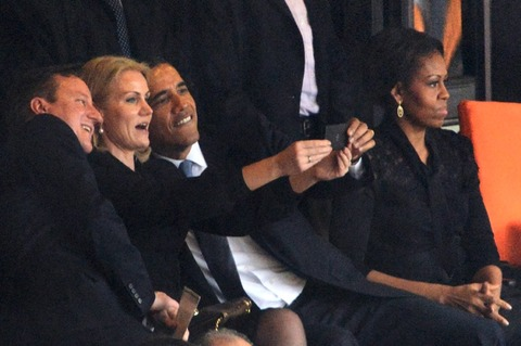 President Obama posed for a selfie with the British Prime Minister and the Denmark Prime Minister!