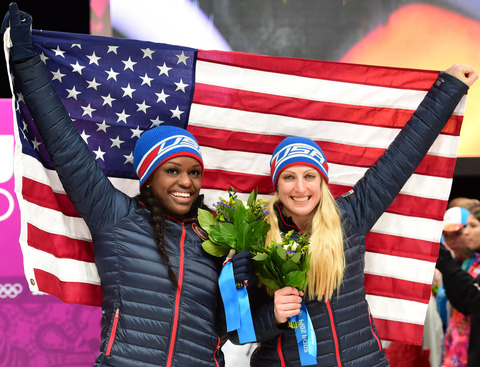 Bronze medalists Aja Evans and Jamie Greubel -- Bobsled Women's