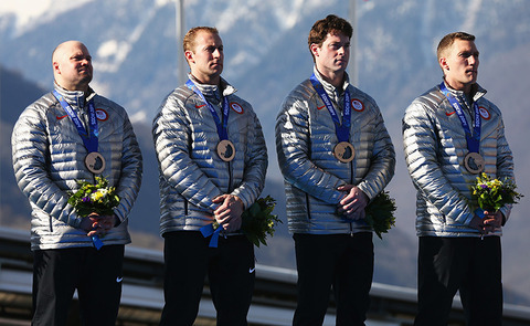 Bronze medalists USA's Men's Bobsled Team -- Bobsled Four-man