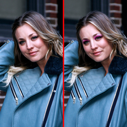Can you spot the THREE differences in the Kaley Cuoco picture?