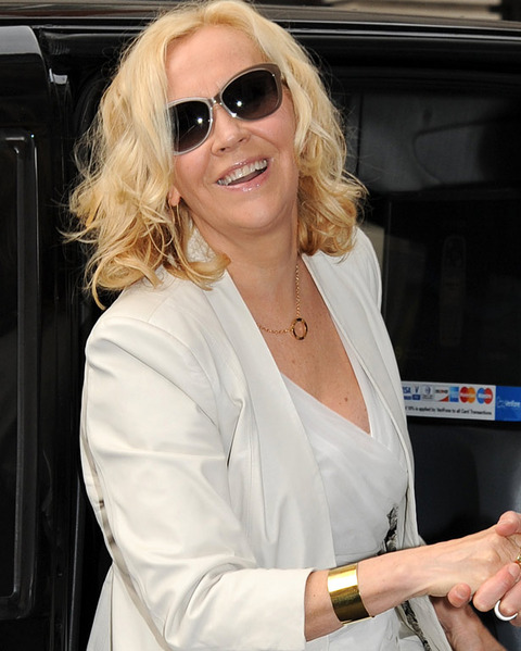 Agnetha Faltskog  was spotted out in London looking sullen.