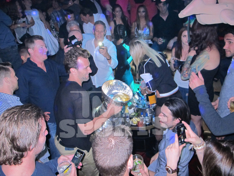 <span>They don't call it the</span><span>Stanley CUP</span><span>for nothing -- which is why a bunch of L.A. Kings players used it to serve up champagne to hot chicks in Vegas!</span>