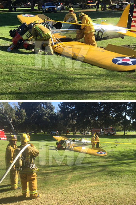 A small plane piloted byHarrison Fordhas crash-landed at an L.A. golf course ... but we're told the actor has survived.