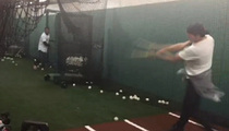 Tom Brady -- Strokes It Lefty ... With MLB Legend
