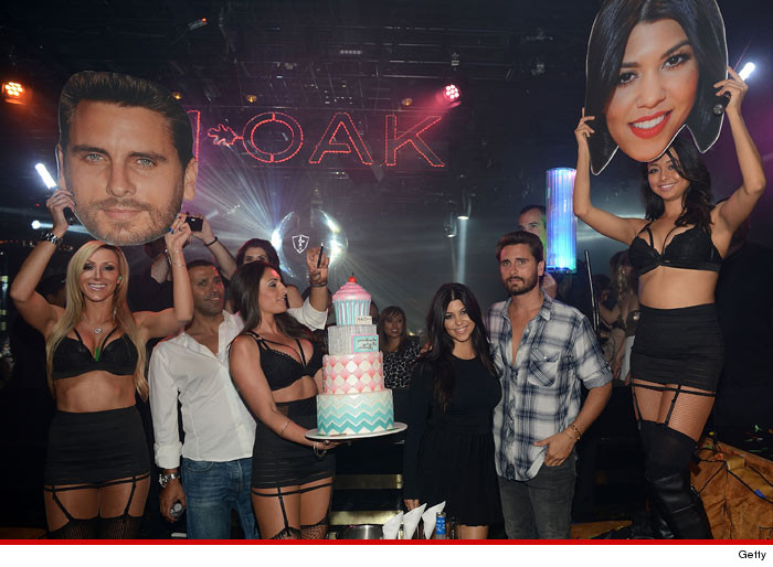Kourtney Kardashian Frowny Faced Scott Disick Front and Center for BD Bash