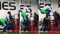 College Football Beast -- Shawn Oakman's Insane Box Jump ... With 70 Pound Dumbbells!