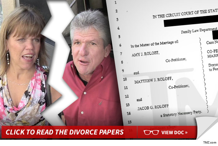Divorce is no small matter ... even for reality TV stars Amy and Matt Roloff,  who are pulling the plug on their 27 year marriage.
