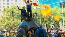 MC Hammer -- Rides Fire Breathing Snail ... At Golden State Warriors Parade