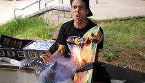 Steve-O -- Launches Bottle Rocket ... OFF HIS NOSE!! (VIDEO)