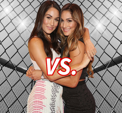 Brie Bella (31) (L) vs. Nikki Bella (31) (R) wrestle it out for hottest Diva in the ring!