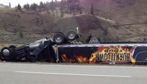 Jason Aldean -- Tour Equipment Truck Flips In Scary Wreck