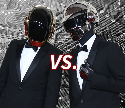 "This Cyber Monday we're pitting two of the world's most famous robots Guy-Manuel de Homem-Christo (left) and Thomas Bangalter (right) of Daft Punk in an epic battle for your digital affection ... ""Get Lucky!"""