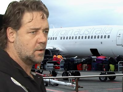 Russell Crowe -- Flies off Handle at Virgin Over Hoverboards