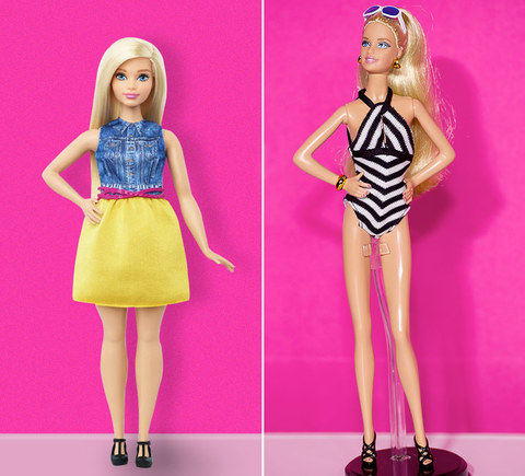 "Here's Mattel's new modern version of the doll nicknamed ""Curvy Barbie"" in a sensible outfit and ergonomic footwear (left) and the long-standing OG Barbie in a black and white one piece with strappy black heels (right)."