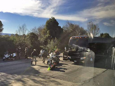 Denver Broncos -- Team Bus Clips CHP Motorcycle Escort