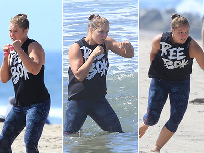 Ronda Rousey -- Crazy Beach Workout ... Ready For The Ring (PHOTOS)