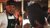Patriots Safety -- Pops a Squat ... With TV Chef On His Back!