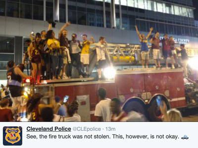 Cleveland Police -- Fans Didn't Steal Fire Truck, But ... (PHOTO)
