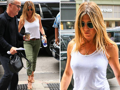 Jennifer Aniston -- You Can See Theroux My Shirt! (PHOTOS)