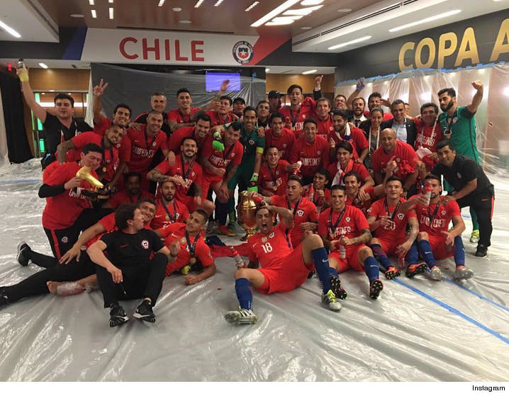 While Lionel Messi Was Busy Sulking After His Penalty Kick Choke Team Chile RAGING IN THE LOCKER ROOM Celebrating With Bud Lights And Golden Trophy