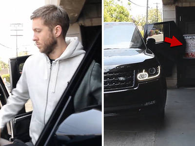 Calvin Harris -- Damn Near Rips Door Off His SUV!! (VIDEO)