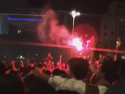 Portugal National Soccer Team -- Fans Go CRAZY ... Fireworks, Firecrackers & Fires (VIDEO)