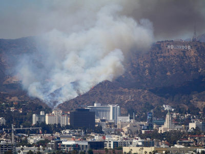 Hollywood -- Brush Fire Burning in Shadow of Famed Sign
