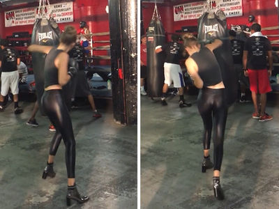 Gigi Hadid -- Boxing In Heels ... And Hot Leather Pants? (VIDEO)