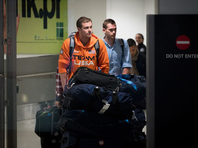 Team USA Swimmers -- Return to U.S. ... Yeah, We've Got Baggage (PHOTO GALLERY)