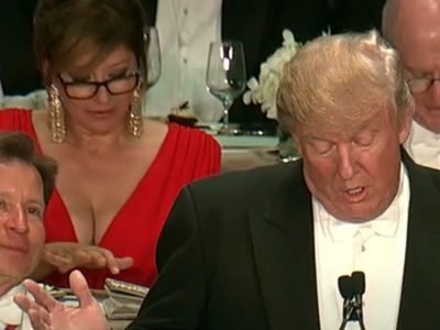Donald Trump & Hillary Clinton -- Famous Boobs at Roast Steal Show ... Totally by Accident (PHOTO)