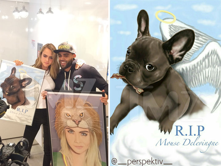 Cara Delevingne was devastated when her dog died 2 years ago, and didn't look much happier this week when she got a postmortem print of the pup.
