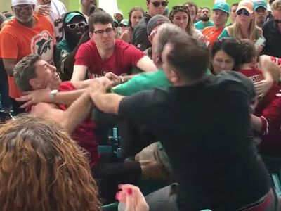 Miami Dolphins -- Scumbag Fans Brawl ... Attack Grandpa In Front Of Grandkids (VIDEO)