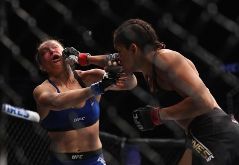<span>Amanda Nunes vs. Ronda Rousey in their UFC women's bantamweight championship bout during the UFC 207 event on December 30, 2016 in Las Vegas, Nevada.</span>