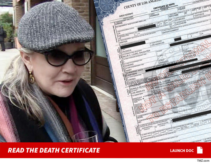 Carrie Fishers Death Certificate Released Tmz